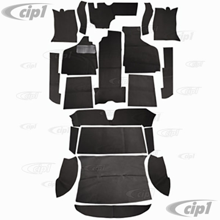 T34-F1524-301 - 69-74 GHIA 19PC CARPET SET - BLACK - (A20)