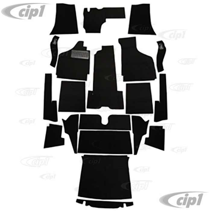 T34-F1624-301 - 58-68 GHIA CONVERTIBLE 20PC CARPET SET - BLACK - (A20)