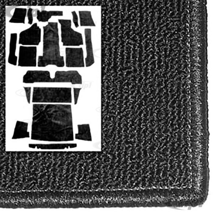T34-F1626-301 - 69-74 GHIA CONVERTIBLE 20PC CARPET SET - BLACK - (A20)