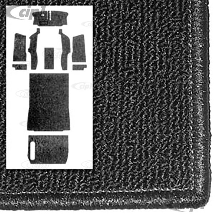 T34-F2106-301 - 73-79 BUS WITH BUCKET SEATS -10PC FULL CARPET SET - BLACK