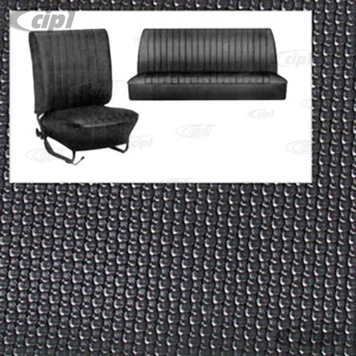 T42-1123-01 - SLIP-ON BLACK BASKET WEAVE VINYL SEAT COVER KIT - BEETLE SEDAN 65-67 - (DOES FRONT & REAR SEATS)