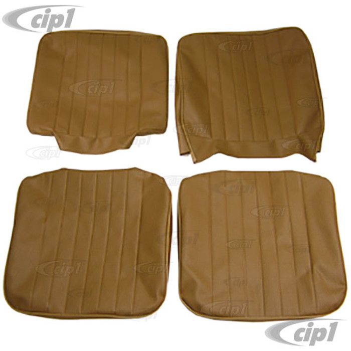 T43-2114-03 - BUS 68-73 FRONT BUCKET SEAT COVER SET - TAN BASKET WEAVE (PLEASE READ SPECIAL NOTES BELOW - BEFORE ORDERING) SOLD SET
