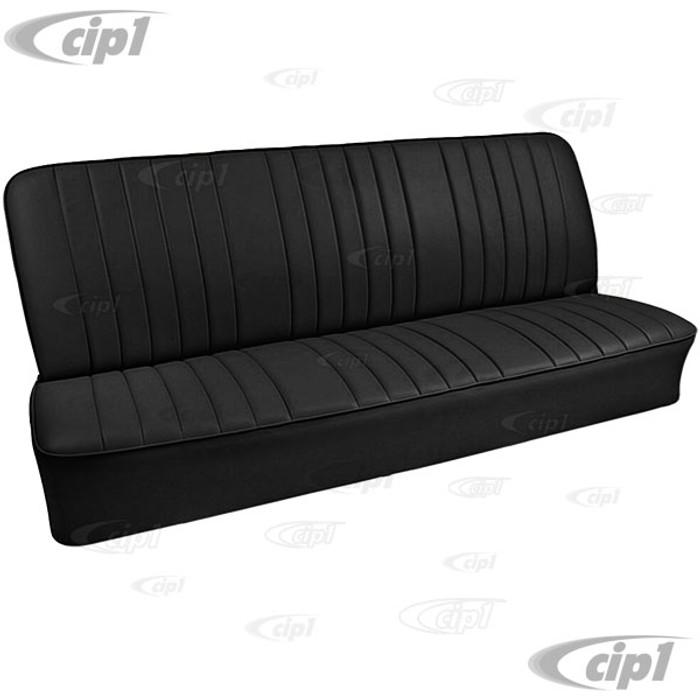 T43-2122-01 - BUS 68-73 REAR FULL WIDTH BENCH SEAT COVER - BLACK BASKET WEAVE VINYL - SOLD EACH