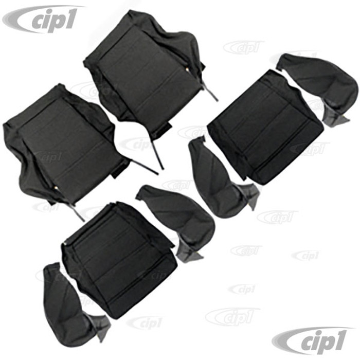 T43-4005-70 - 82-84 RABBIT GTI SPORT STYLE - FRONT SEAT COVER SET - TWEED BLACK - ORDER HEADREST SEP.