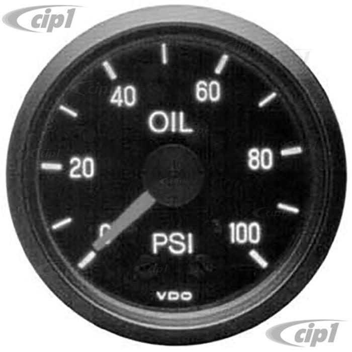 VDO-150-030 - 150030 - BLACK FACE  2-1/16 INCH COCKPIT OIL PRESSURE GAUGE-MECHANICAL-100 PSI