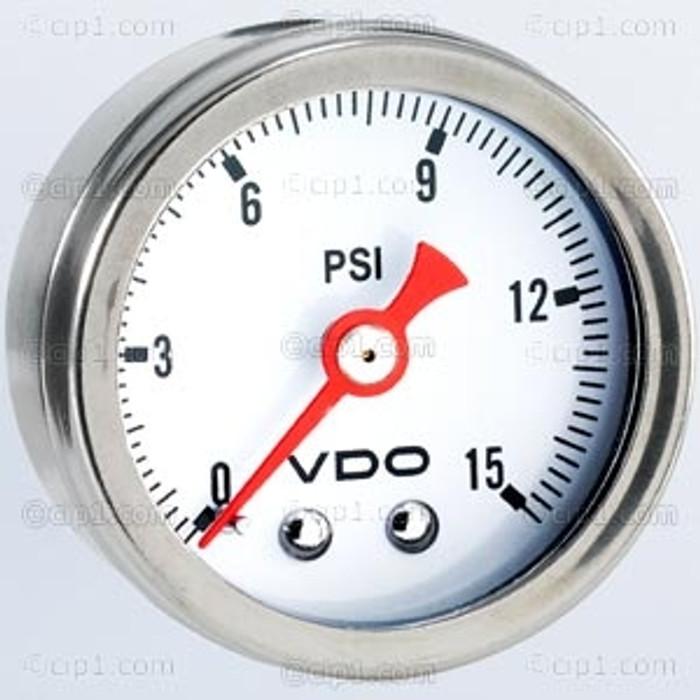 VDO-153-002 - 153002 - DIRECT MOUNT FUEL PRESSURE GAUGE - MECHANICAL-15 PSI-WHITE DIAL-1 1/2 - SOLD