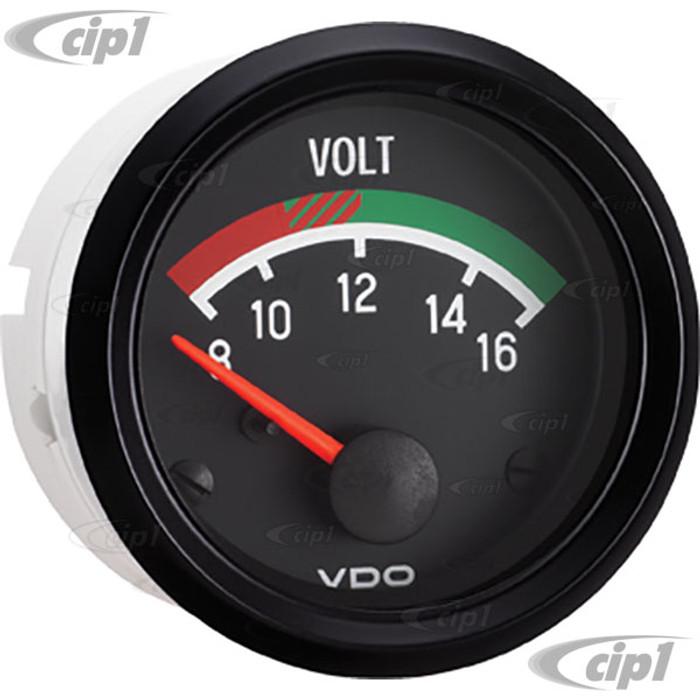 VDO-332-041 - 332041 - BLACK FACE COCKPIT VOLTMETER-8-16 VOLTS 2-1/16 (52MM)