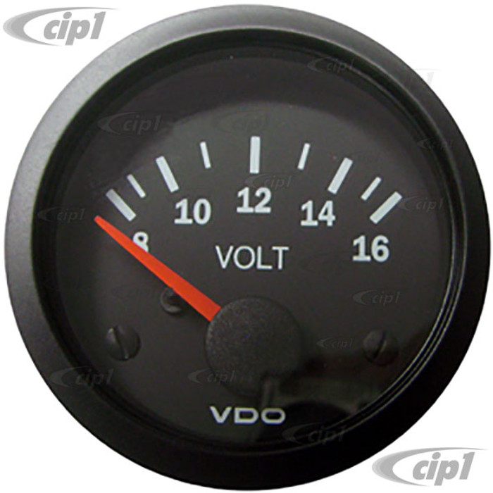 VDO-332-103 - 332103 - BLACK VISION VOLTMETER-8-16 VOLTS 2-1/16 (52MM)