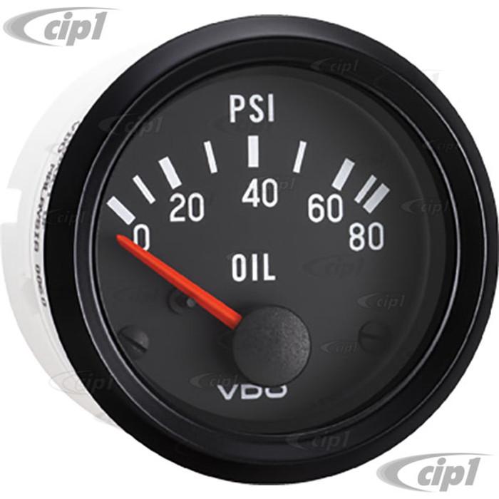 VDO-350-040 - 350040 - BLACK FACE COCKPIT OIL PRESSURE GAUGE GAUGE-80 PSI 2-1/16 (52MM)