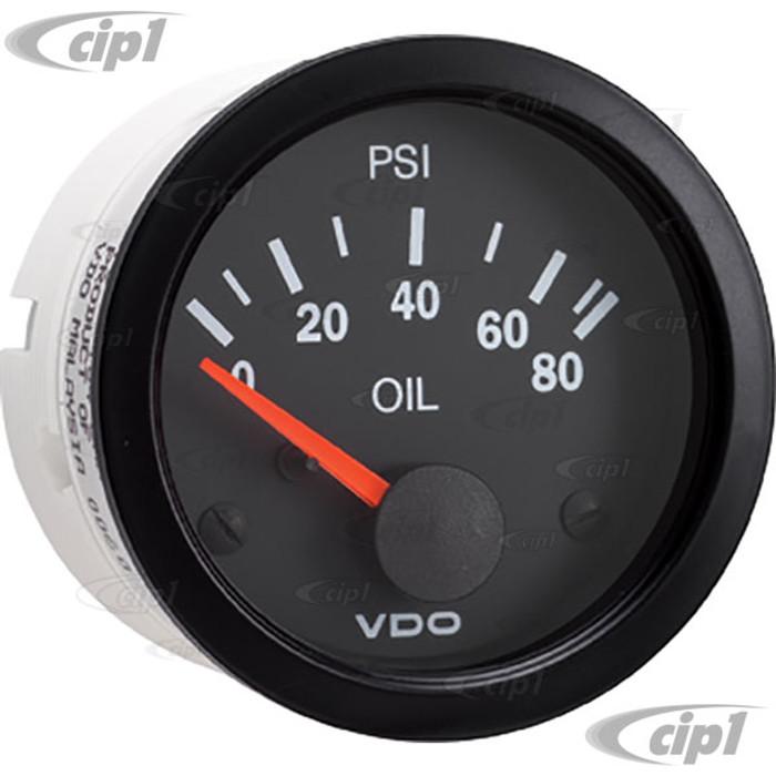 VDO-350-104 - 350104 - BLACK VISION OIL PRESSURE GAUGE-80 PSI 2-1/16 (52MM)