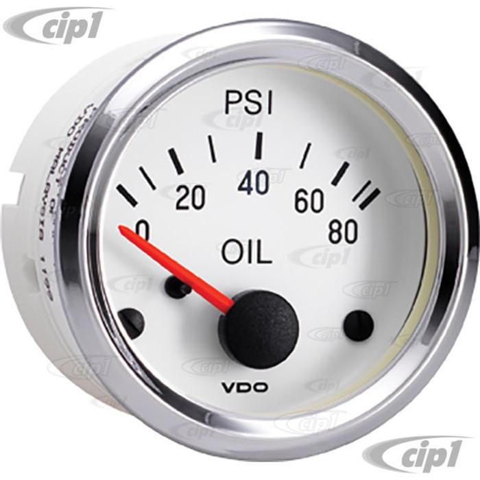 VDO-350-244 - 350244 - WHITE FACE W/CHROME BEZEL COCKPIT OIL PRESSURE GAUGE - 80 PSI - 12 VOLT (10-180 OHMS) - SOLD EACH