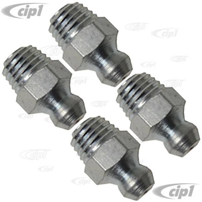 VHD-N18-5161-SET - SET OF 4 GREASE NIPPLES (ZIRK FITTING) - FITS ALL ORIGINAL STYLE STEEL FRONT AXLE BEAMS - 8MM STRAIGHT - SOLD SET OF 4
