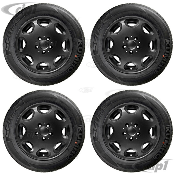 ACC-C10-6599-SETB - WHEEL/TIRE PACKAGE- GLOSS BLACK 16X7.5 ALLOY WHEEL 5X112MM WITH 215/60R16 NAGKANG SP-9 TIRES - MOUNTED & BALANCED - DIRECT BOLT ON FOR 2WD OR 4WD BUS/VANAGON 71-91 - CAP AND VALVE STEM INCLUDED - HARDWARE SOLD SEPARATELY - SET OF