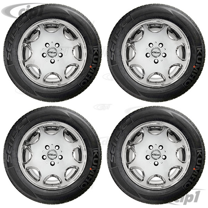 ACC-C10-6599-SETC - WHEEL/TIRE PACKAGE- CHROME FINISH 16X7.5 ALLOY WHEEL 5X112MM WITH 215/60R16 NAGKANG SP-9 TIRES - MOUNTED & BALANCED - DIRECT BOLT ON FOR 2WD OR 4WD BUS/VANAGON 71-91 - CAP AND VALVE STEM INCLUDED - HARDWARE SOLD SEPARATELY - SET O