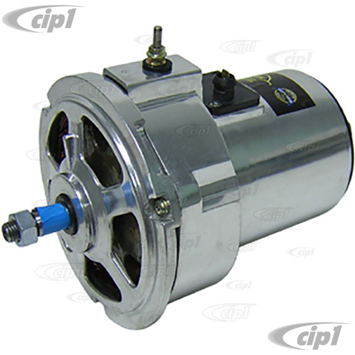VWC-043-903-023-AC75 - (043903023A) - NEW 75 AMP CHROMED ALTERNATOR - HIGH OUTPUT REPLACEMENT FOR BEETLE 73-79 / GHIA 73-74 (CUSTOM UPGRADE FOR 15-1600CC BEETLE STYLE ENGINE) - SOLD EACH