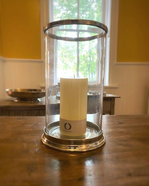 Pewter & Glass Cylinder Hurricane
