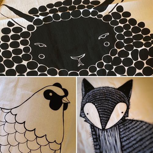 Flour Sack Tea Towel - Black and White Animals