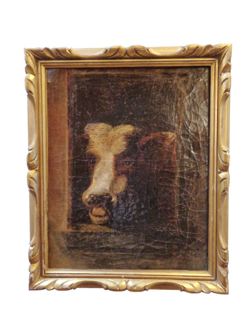 Painting of Cow in Gold Frame