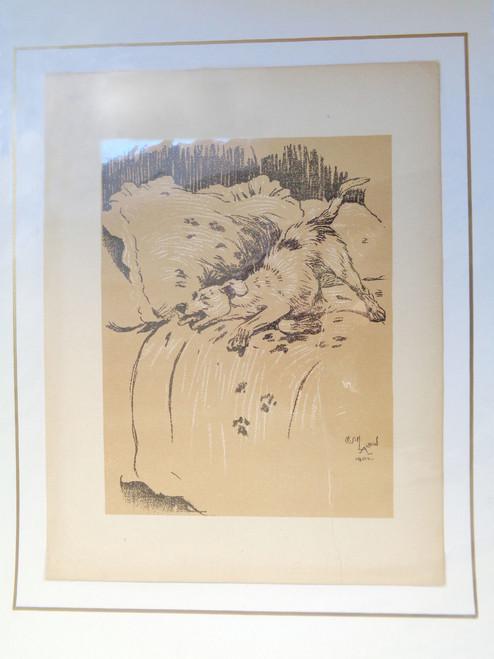 "Cecil Aldin A Dog Day Print; ""Dog on Bed"""
