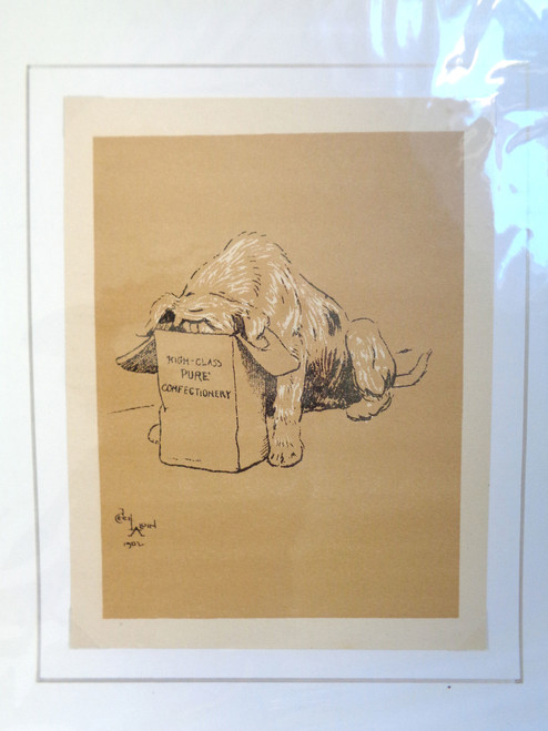 "Cecil Aldin A Dog Day Print; ""Dog's Head in Confectionery Bag"""