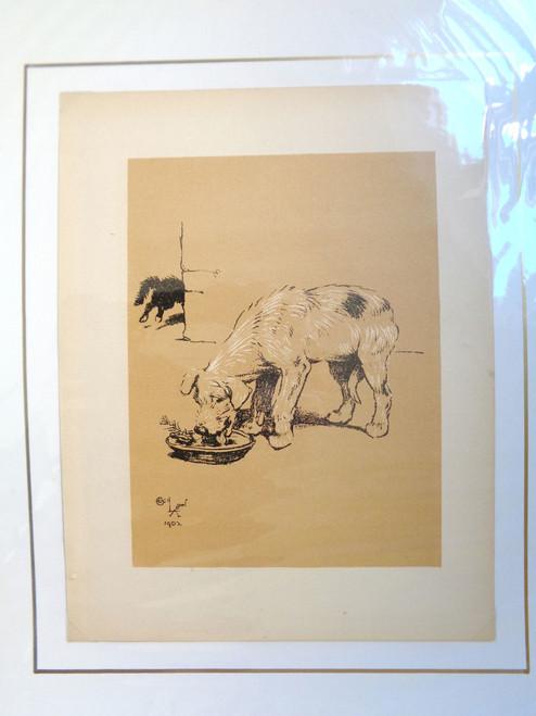 "Cecil Aldin A Dog Day Print; ""Dog at Water Bowl"""