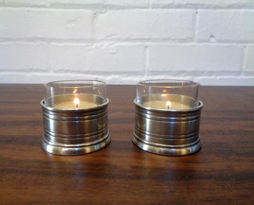 Pewter & Glass Tea Light Candle Holder