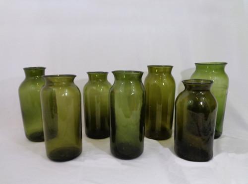 Antique Green Glass Pickling Jars
