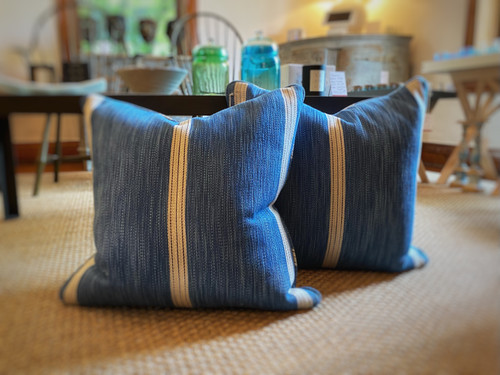 Pillow -- Blue with Cream Stripes