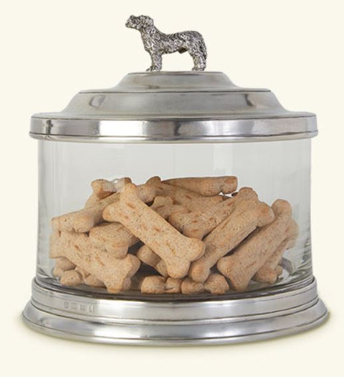 Pewter & Glass Cookie Jar with Dog Finial