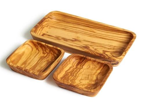 Olive Wood Set of Three Dishes