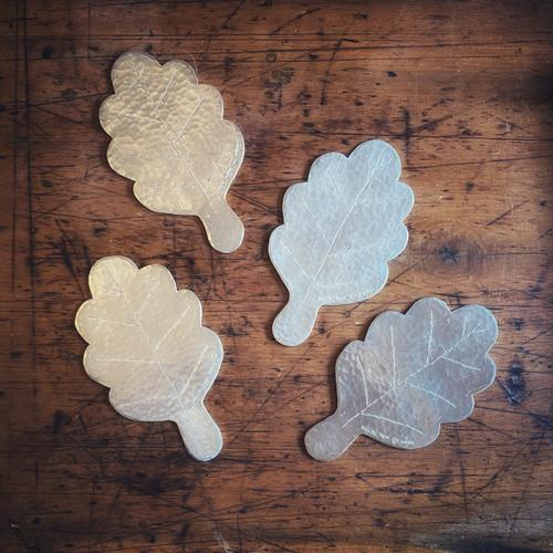 Pewter Leaf Coasters - Set of Four