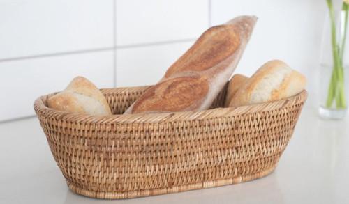 Rattan Oval Bread Basket -- Honey Brown