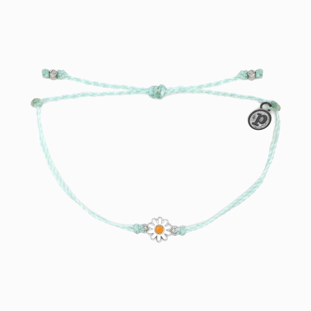 Silver Plated Charm Adjustable Band Pura Vida Mini Braided Beaded Bracelet