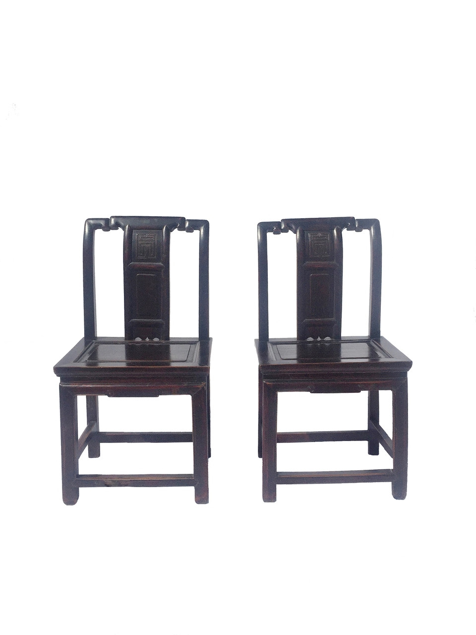 pair of antique chinese chairs with longevity motif - Pair Of Antique Chinese Chairs With Longevity Motif - EASTERN LIVING
