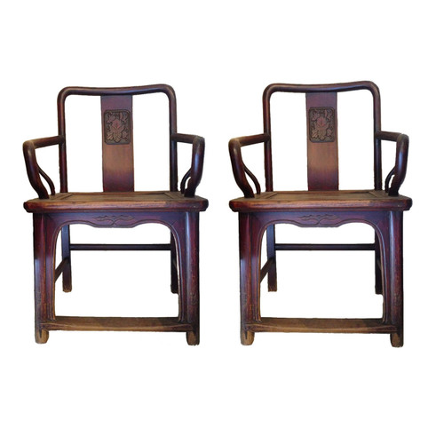 armchairs, pair, antique, peony