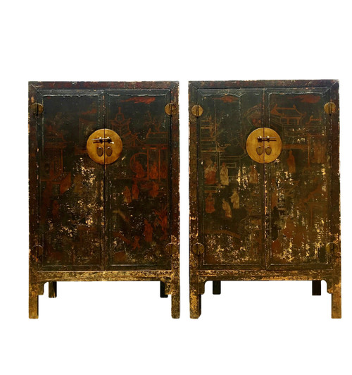 pair antique cabinets, hand painted