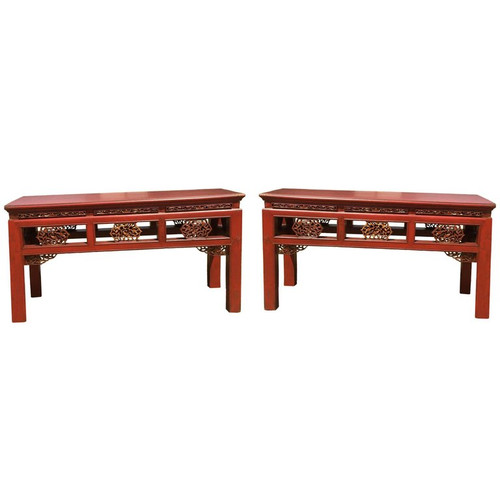 pair carved antique benches, double sided, red gilded