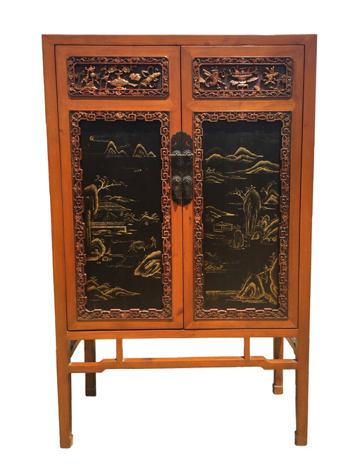 antique honey cabinet with fine carvings
