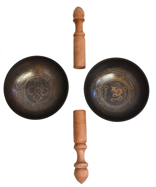 Pair Tibetan Singing Bowls with Flaring Sides