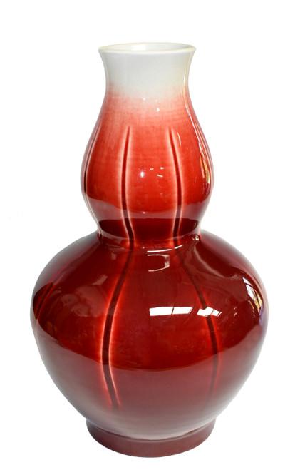 Sang De Boeuf Oxblood Porcelain Vase, Gourd Shape