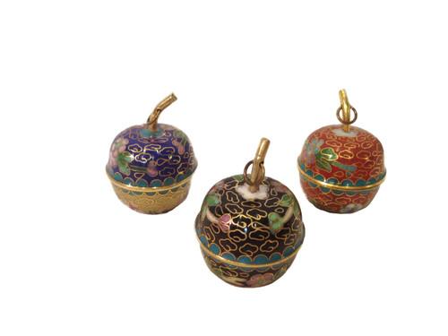 pots, cloisonne, mini, set of 3