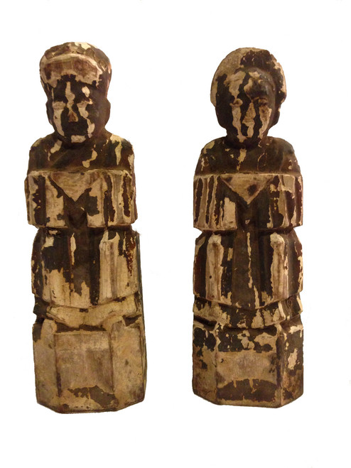 figures, pair, antique, earth gods