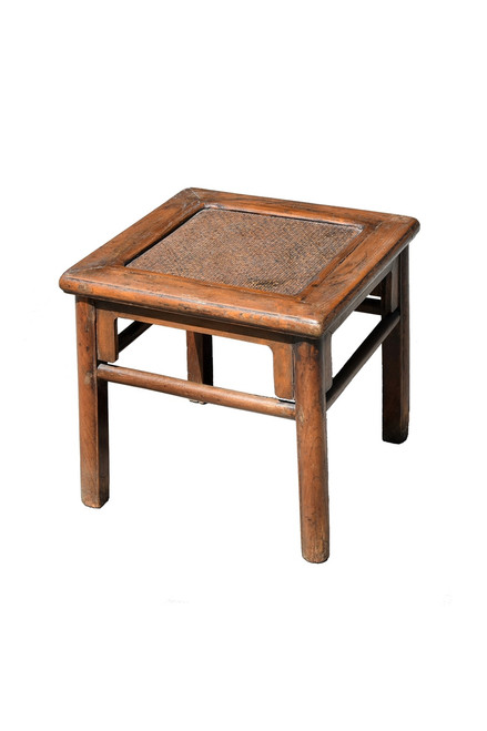stool, rattan top, antique