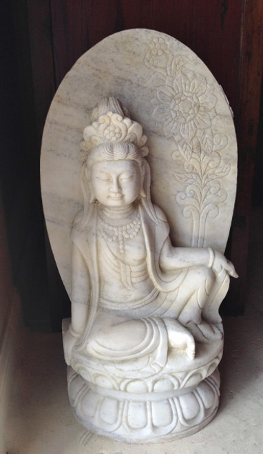 kwan yin, marble, sun flower