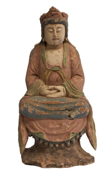 Antique Wood Pastel Kwan Yin