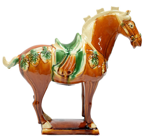 Caramel Pottery Horse with Green Saddle