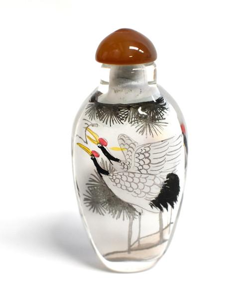 Eglomise Reverse Painted Snuff Bottle Crane