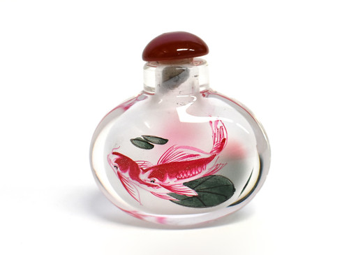 Eglomise Reverse Painted Snuff Bottle Koi
