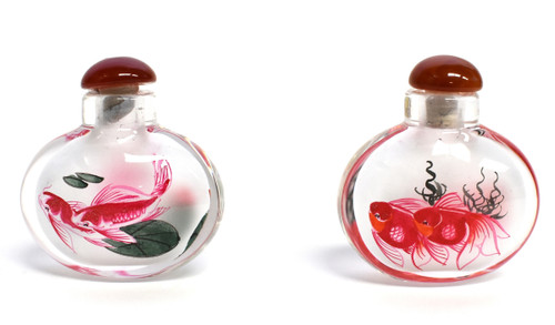Eglomise Reverse Painted Snuff Bottles Set of 2 Fish