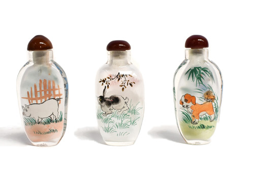 Eglomise Reverse Painted Snuff Bottles Set of 3 Zodiac Animals